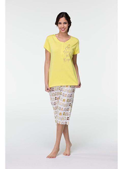 Hays Plus Size Kadın Penye Kapri Pijama Takımı Yeşil